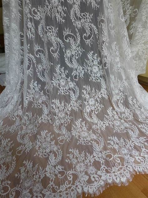 Eyelash Fabric Unique White Wedding Dress Lace Fabric for