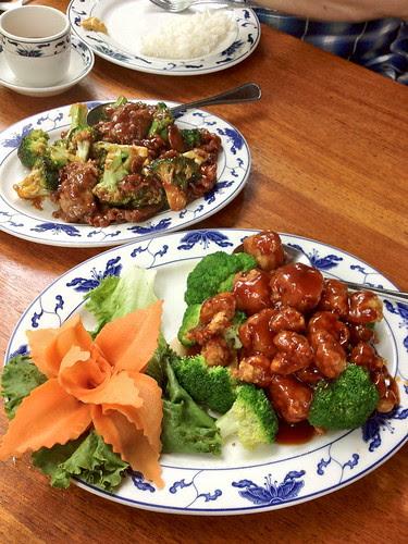 Crispy scallops and beef and broccoli