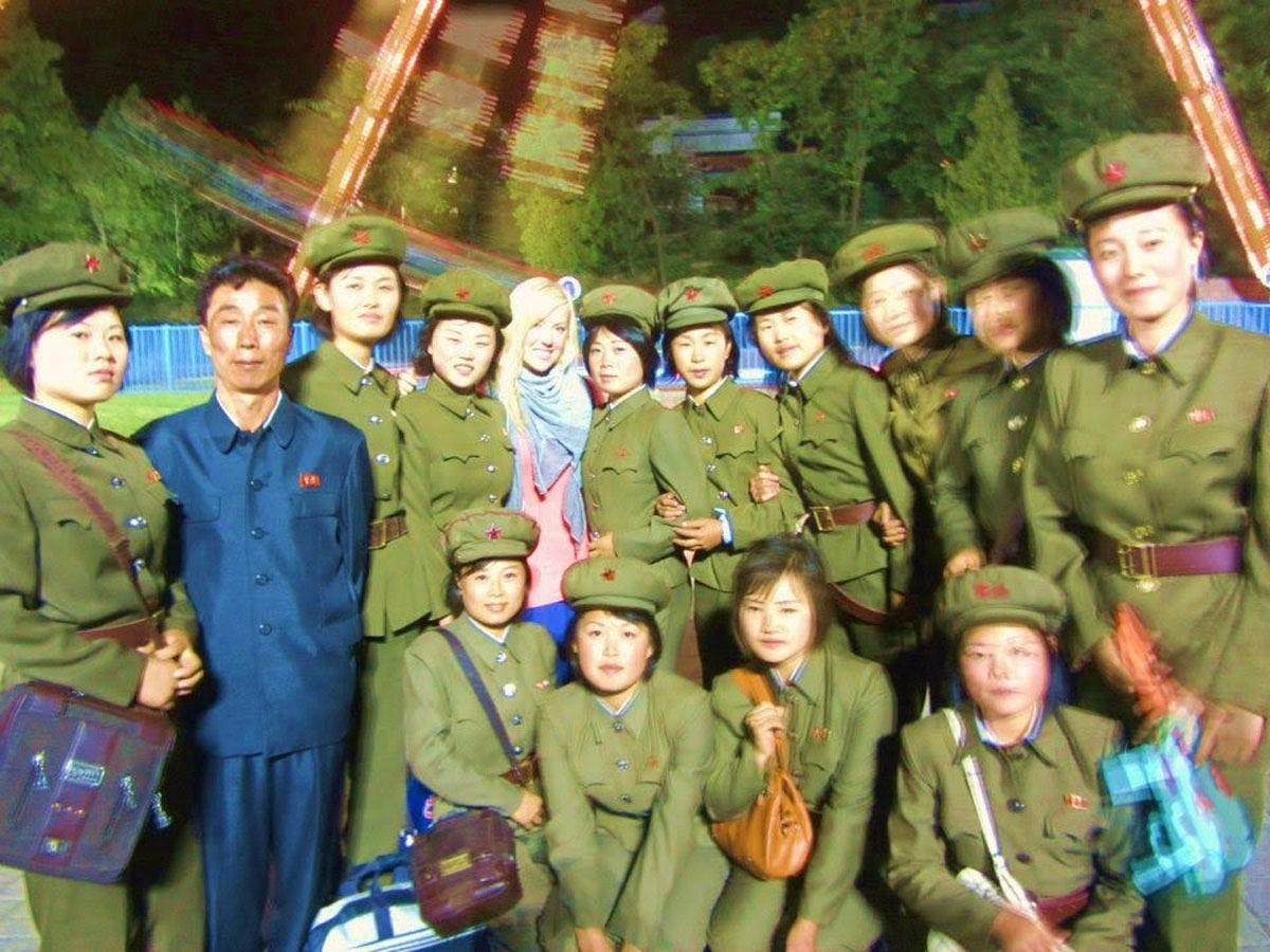 Anna was able to snap this picture with some of the female North Korean military personnel before their platoon leader spotted them.