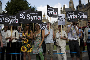 British demonstration against war on Syria outside parliament in London on August 29, 2013. The House of Commons voted down Cameron war program. by Pan-African News Wire File Photos