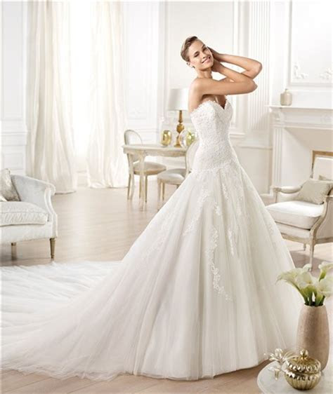 Fitted A Line Princess Sweetheart Lace Tulle Wedding Dress