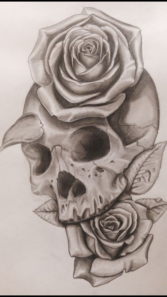 Skulls And Roses Drawing At Getdrawingscom Free For Personal Use