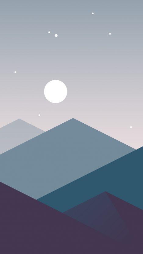 MinimalisticMountainsNightMooniPhoneWallpaper  iPhone Wallpapers
