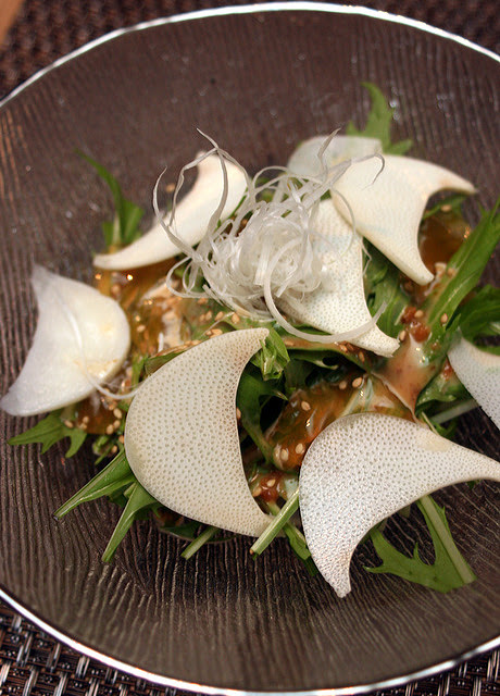 Heart of Palm Salad (Crisp Japanese onions, shaved heart of palm and Mizuna)