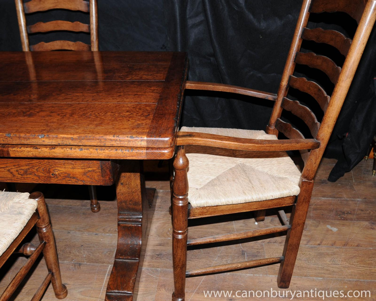Farmhouse Kitchen Dining Set Refectory Table Set Ladderback Chairs ...