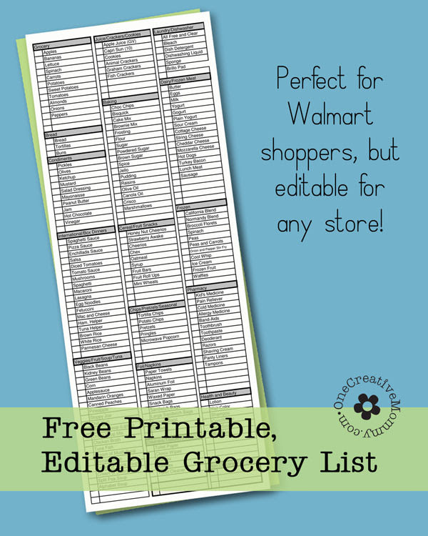 Freebie Friday-Printable Grocery List - onecreativemommy.com