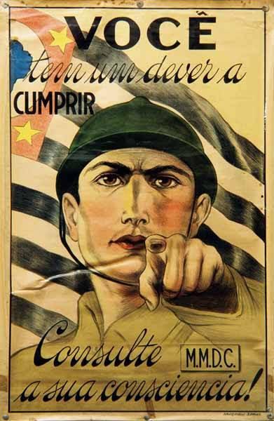 Revolução Constitucionalista de 1932 - Cartaz de convocação de voluntários(Acervo do Instituto Histórico eGeográfico de São Paulo/Foto de Renato Chaui)