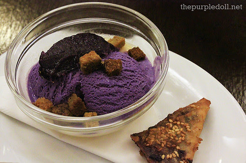 Jackfruit Panna Cotta, Toasted Coffee Crouton and Ube Ice Cream with Banana and Chocolate Samosas