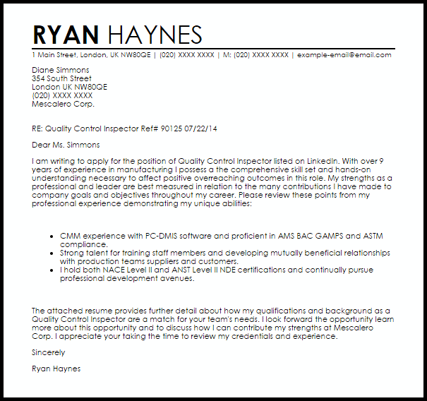 application letter for quality control inspector