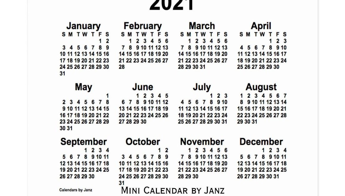 Printable Pocket Size Calendar 2021 | Lunar Calendar