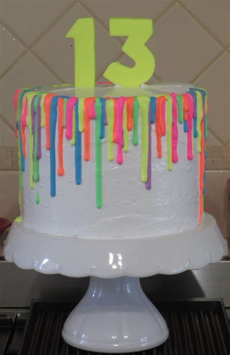 Fluoro Glow In The Dark Drip Cake   CakeCentral.com