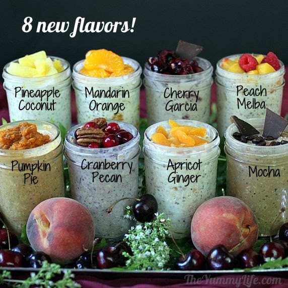 Refrigerator Oatmeal -- 8 more flavors of this popular no-cook, make-ahead, grab-and-go breakfast from The Yummy Life.