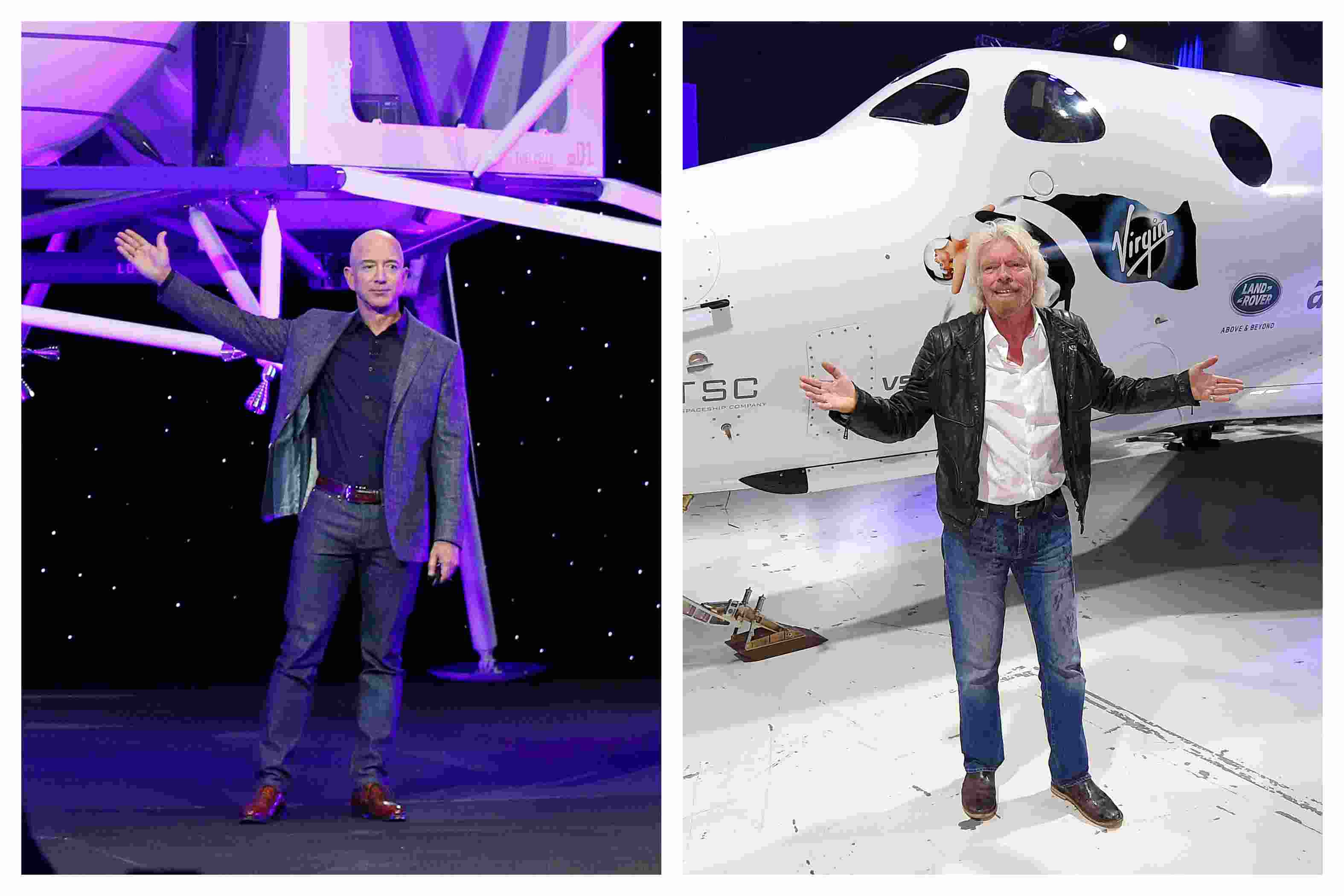 Billionaires Jeff Bezos and Richard Branson are competeing in a space race to be the first to go to space. Image credit: AP Photo/Mark J. Terrill