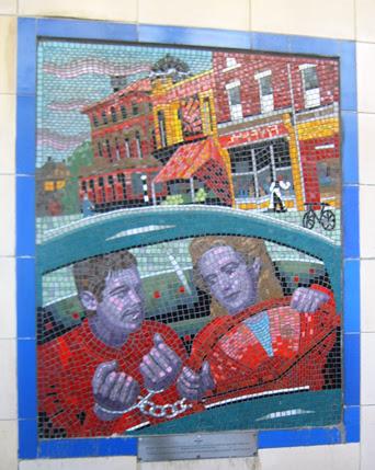Hitchcock Leytonstone London Underground Mosaics - Car Chase