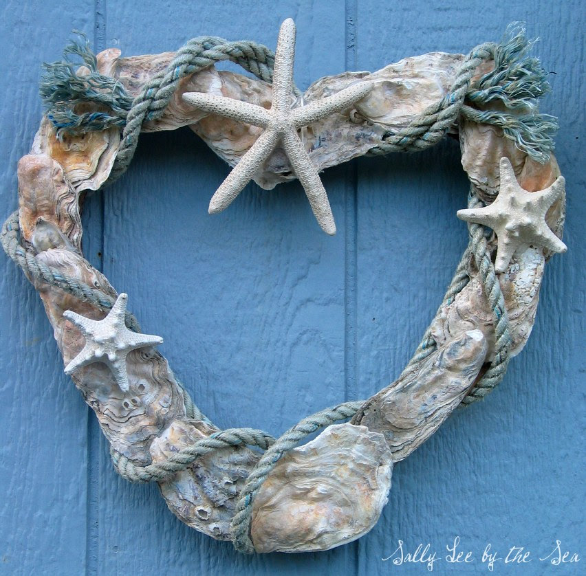 Coastal Crafts} Oyster Shell Heart Wreath | Sally Lee by the Sea