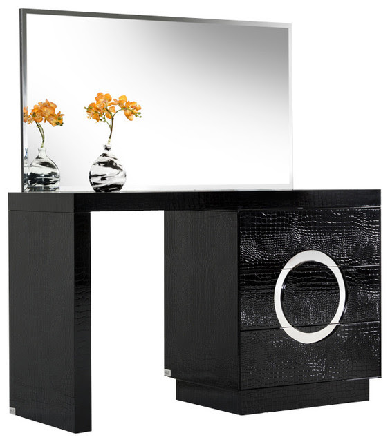 A&X Ovidius Modern Black Crocodile Vanity Table & Mirror ...