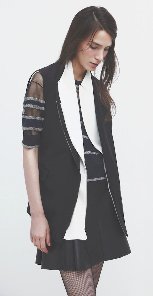 LE FASHION BLOG 3.1 PHILLIP LIM HOLIDAY 2013 LOOKBOOK BLACK WHITE SLEEVELESS JACKET VEST BLACK WITH WHITE LAYERED LAPELS SHEER AND METALLIC STRIPED SHIRT PLEATED LEATHER SKIRT MINIMAL CLEAN 7 photo LEFASHIONBLOG31PHILLIPLIMHOLIDAY2013LOOKBOOKBLACKWHITESLEEVELESSJACKET7.jpg