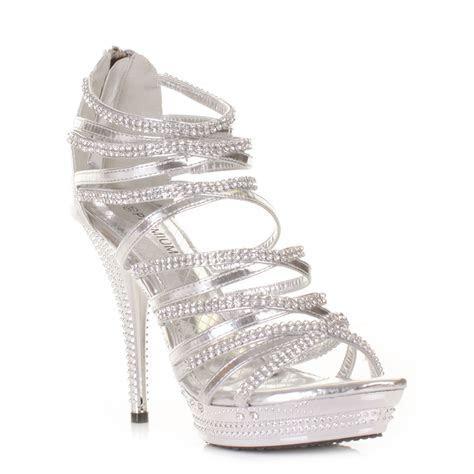 Gladiator Strappy Sandal Women High Heel Silver Platform
