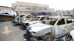 Burned out cars outside the Westgate centre