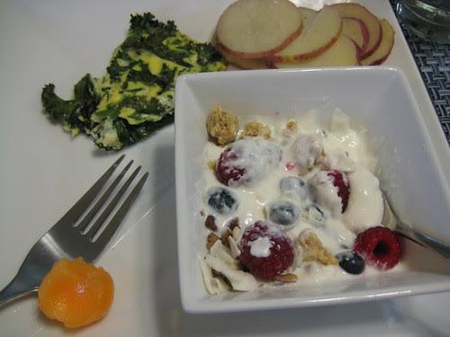 yogurt, frittata, potatoes