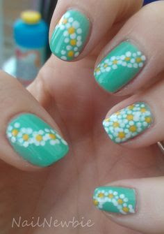 Turquoise Nails with daisy
