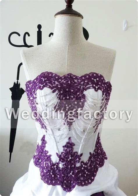 Purple And White Wedding Dresses Strapless Real Sample