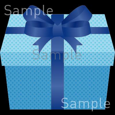 プレゼントボックス青の無料イラスト素材登録不要のイラストぱーく