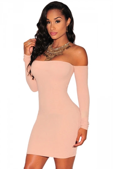 Off Shoulder Plain Sleeveless Bodycon Dresses