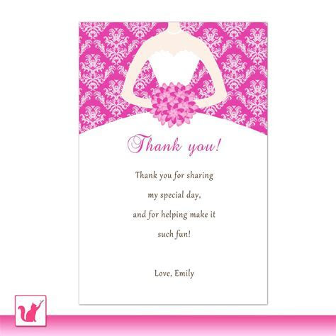 Bride Dress Bridal Shower Thank You Card Hot Pink Thank