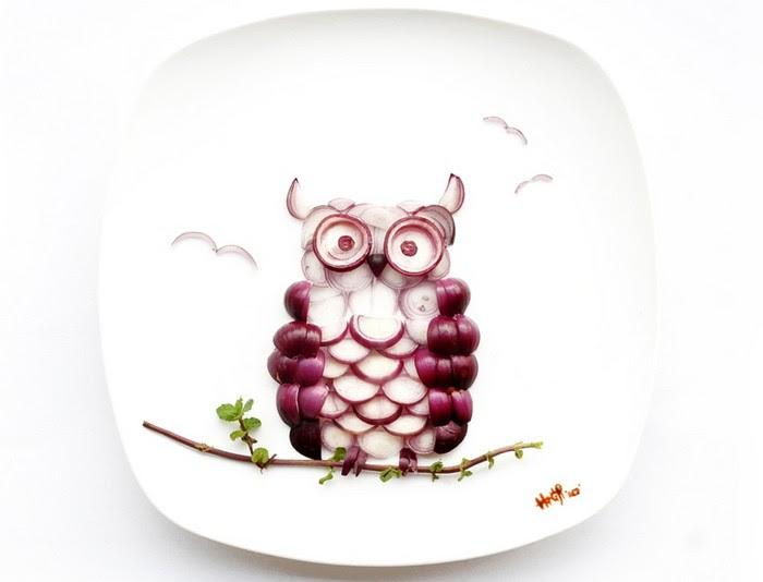 День 19. Луковая сова. 31 days of creativity with food. Hong Yi aka Red