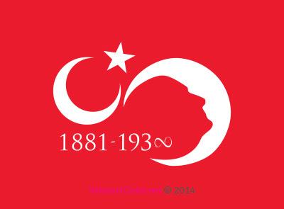 Vektörel çizim 10 Kasım Ay Yıldız Ve Atatürk Silüeti