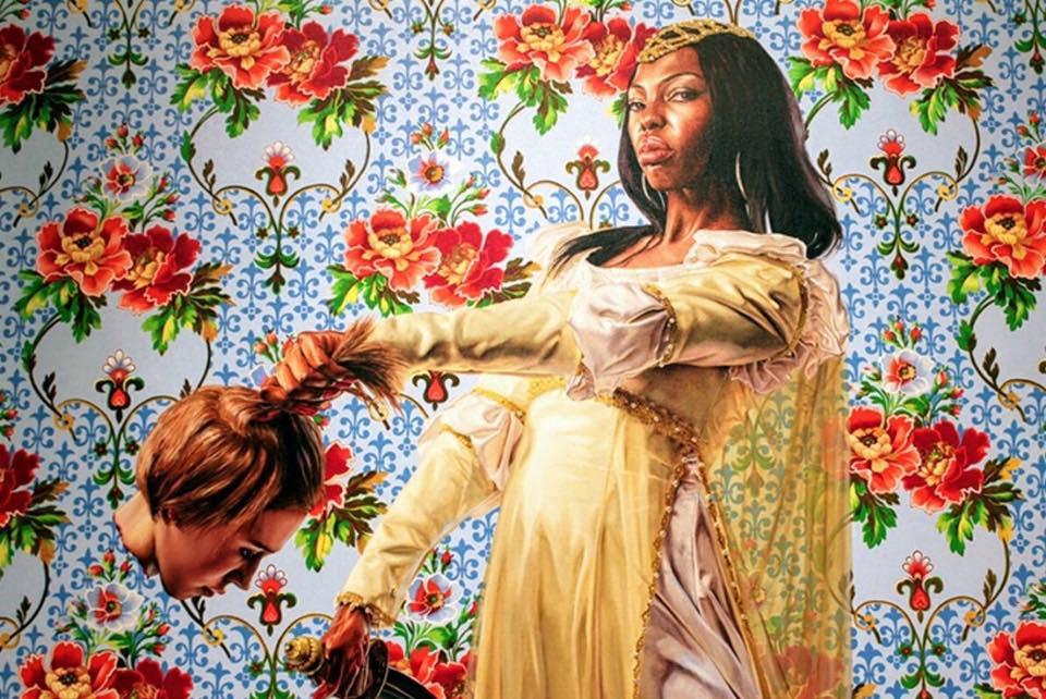 Quadro de negra decapitando branca. Mesma artista do quadro de Barack Obama