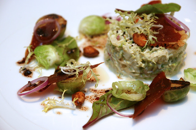 Brussels Sprouts, with dried iberico, spiced almonds, red onion and sesame
