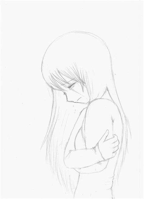 anime girl crying crossed arms sketch   fangirlx