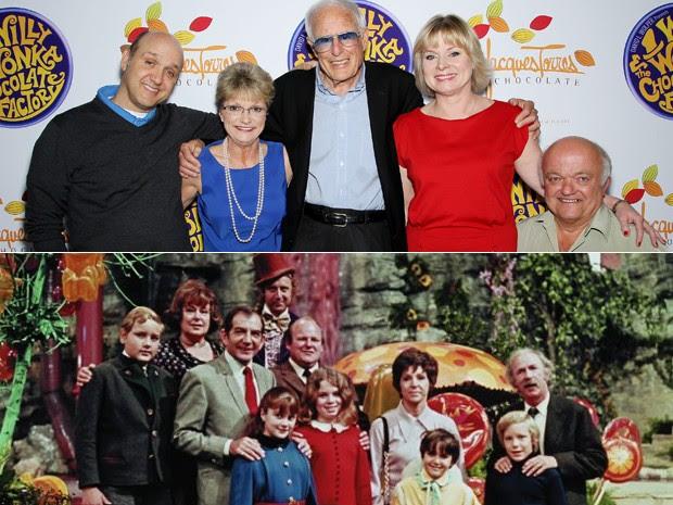 O elenco de 'A fantástica fábrica de chocolate' em 2011, com Paris Themmen (Mike Teevee), Denise Nickerson (Violet Beauregarde), Mel Stuart, Julie Cole (Veruca Salt) e Rusty Goffe (Oompa-Loompa); e durante as filmagens, em 1971 (Foto: AP)