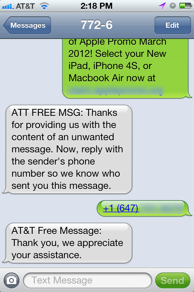 Report Text Message Spam to AT&T - TidBITS