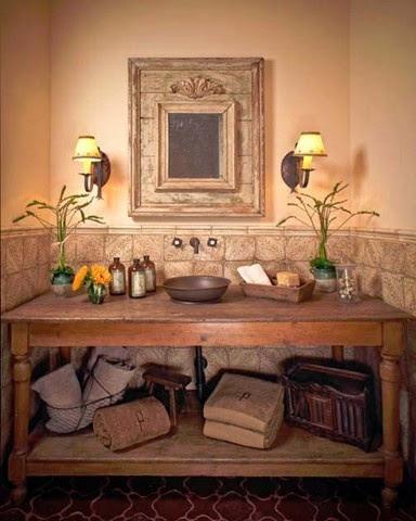 Vintage table as vanity - Tabarka tile
