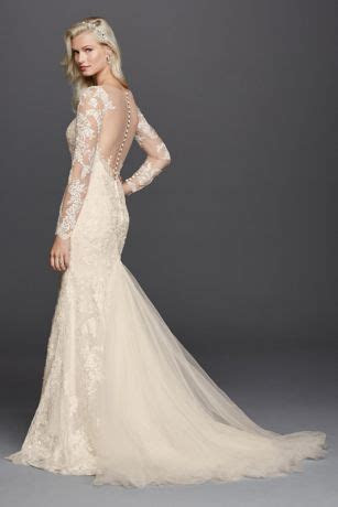 Lace Long Sleeve Illusion V Neck Wedding Dress   David's