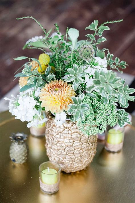 Unexpected Pineapple Centerpiece to Accent Wedding