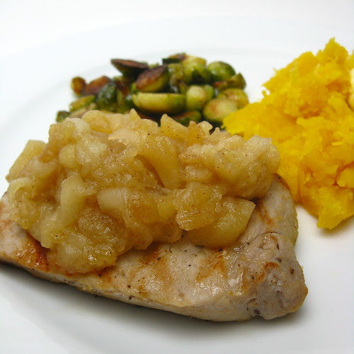 Chai Brined Pork Chops with Quick Apple Sauce