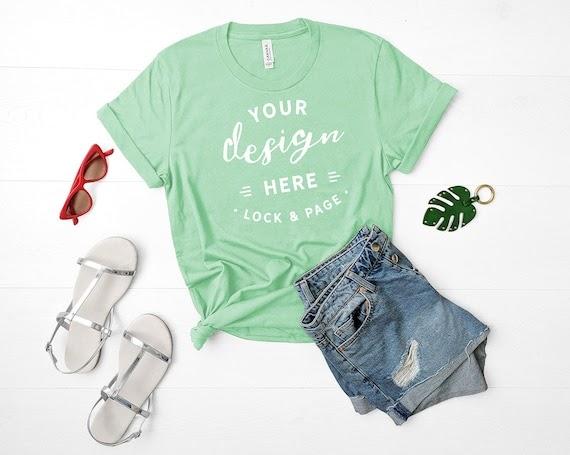 Download Bella Canvas 3001 Mockup Mint Green Unisex T-Shirt Flat ...