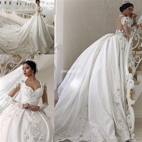 Princess Long Sleeve 2017 Ball Gown Wedding Dresses Sheer