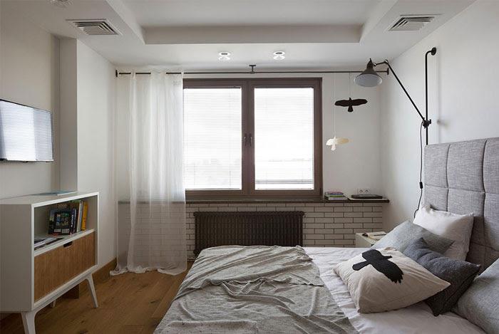 Mnochrome Kiev Apartment od sypialni surowych form geometrycznych Alena Yudina