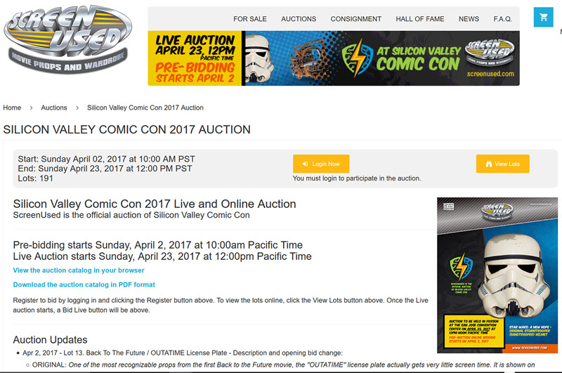 Silicon Valley Comic Con 2017 Live And Online Auction By Screenused