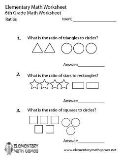 6th grade ratios worksheet