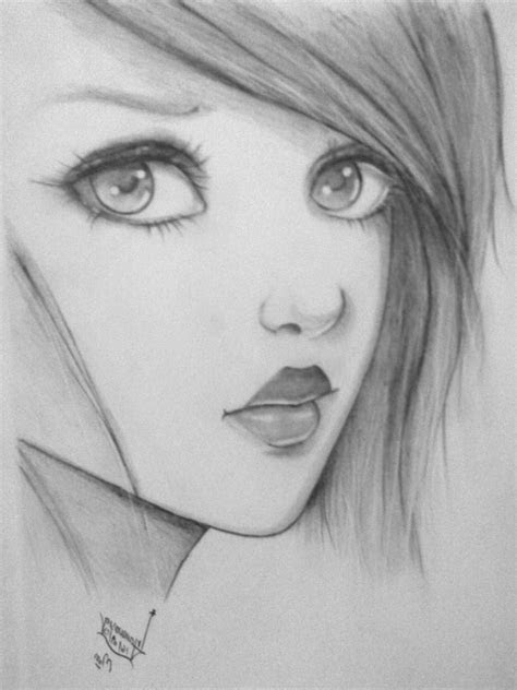 girl drawings  pencil easy easy drawing pencil cool