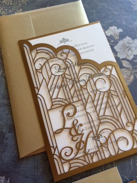 Laser Cut Wedding Invitations Monogram Art Deco Pocket