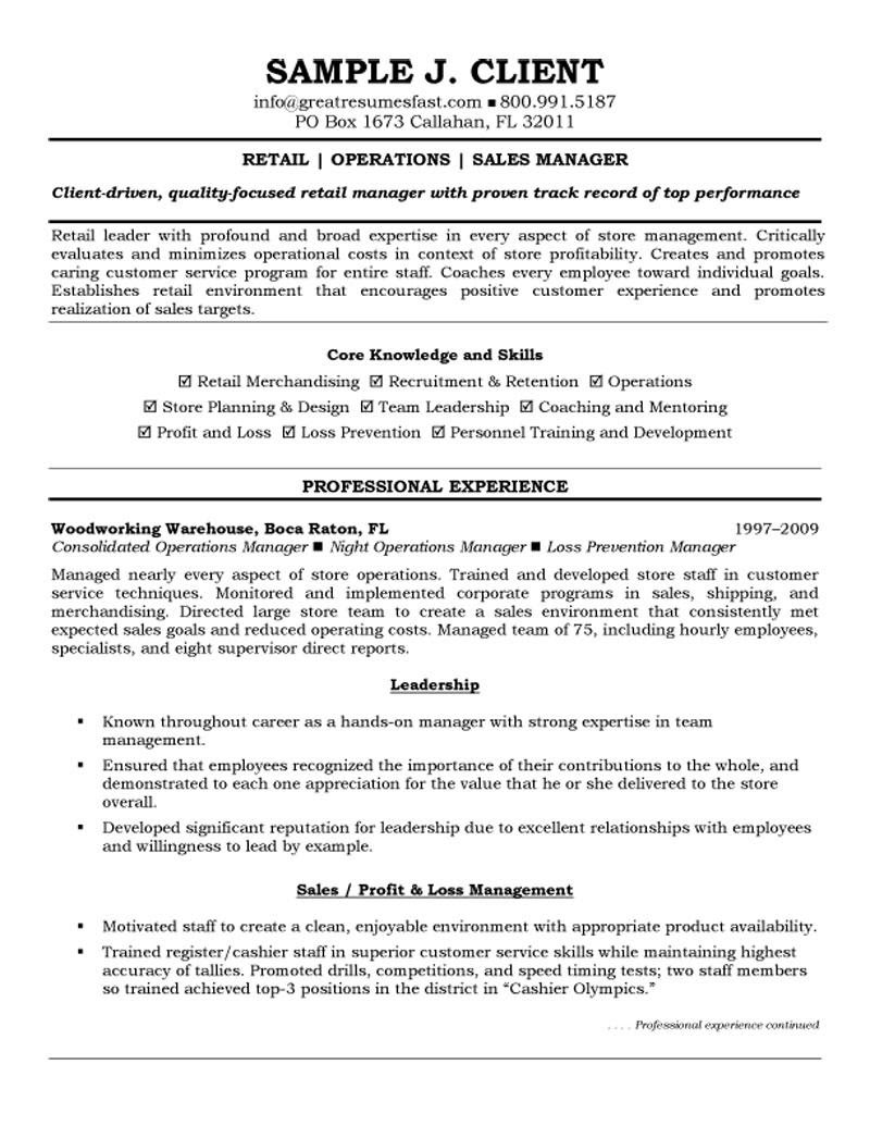 retail operations and sales manager resume 1
