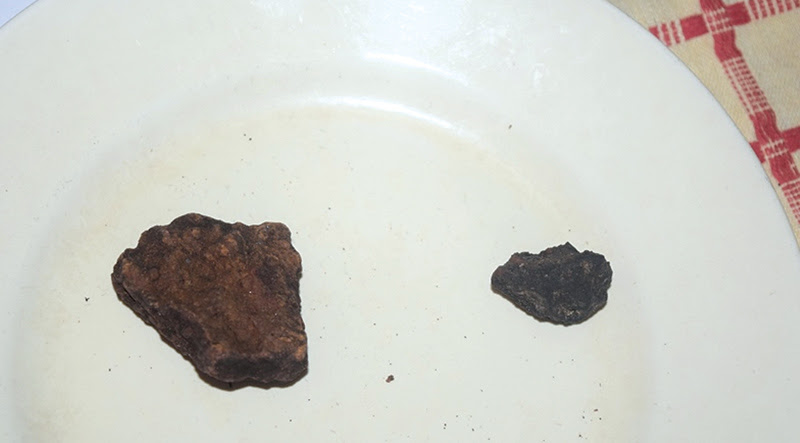 The recovered meteorite particles.