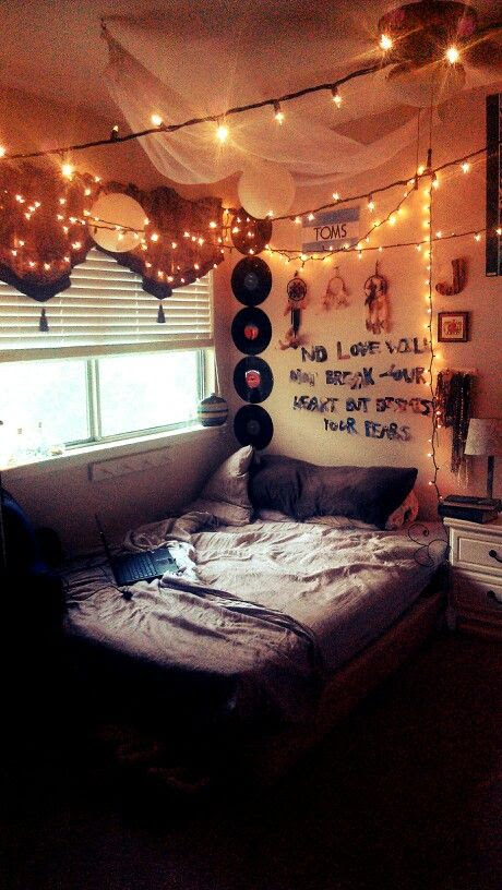Hipster indie room. Fairy lights and quote on wall   Dream Home Ideas
